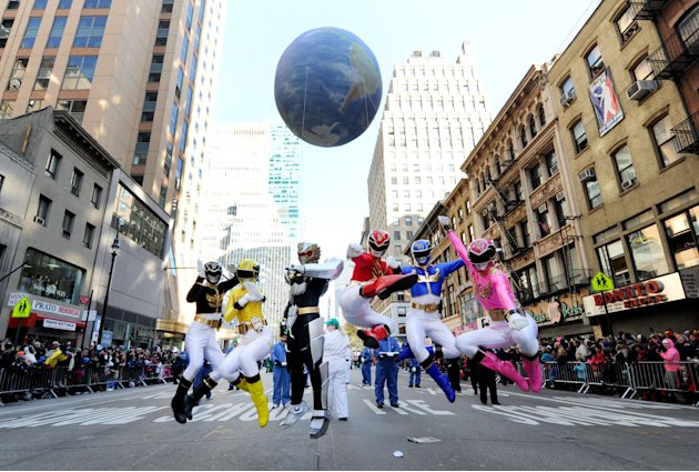 Saban's Power Rangers Megaforce celebrate the franchise's 20th anniversary while powering up the Macy's Thanksgiving Day Parade, Thursday, Nov. 22, 2012, in New York.  (Photo by Diane Bondareff/Invisi