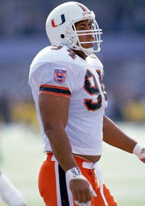 Dwayne Johnson, playing for the Miami Hurricanes in 1994