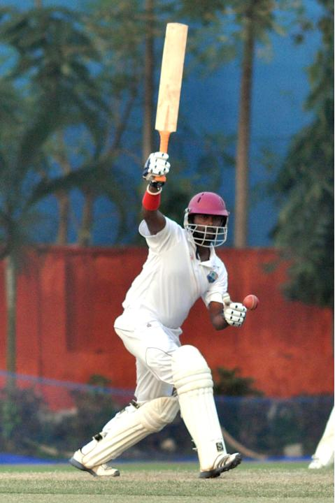 West Indies player N Deonarine in action during Day one of practice match between West Indies and Uttar Pradesh Cricket Association XI at the Jadavpur University Ground in Kolkata on Oct 31, 2013. (Ph