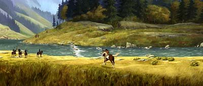 The young Lakota brave Little Creek ( Daniel Studi ) rides his paint mare named Rain into battle with the Cavalry to save his village in Dreamworks' Spirit: Stallion of the Cimarron