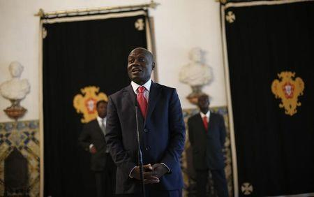 Guinea-Bissau's President Jose Mario Vaz speaks with journalists after a meeting with his Portuguese counterpart Anibal Cavaco Silva at Belem presidential palace in Lisbon