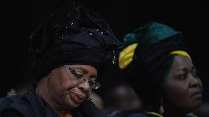 The widow of Nelson Mandela Graca Machel attends the funeral ceremony of South African former president Nelson Mandela in Qunu on December 15, 2013