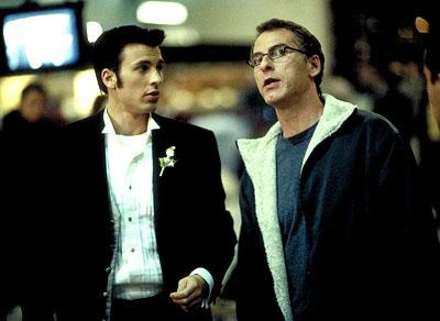 Chris Evans and director Joel Gallen on the set of Columbia's Not Another Teen Movie
