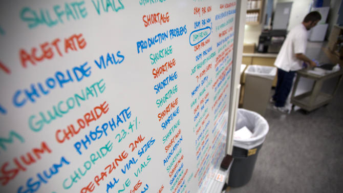 "This Aug. 29, 2011 photo, shows a board listing drugs in short supply at the University of Utah Hospital, in Salt Lake City. At hospitals across the country, ""scoring drugs"" has taken on a new meaning. Hundreds admit buying medicines at exorbitant prices from ""gray market"" dealers taking advantage of, and possibly exacerbating, a record shortage of life-saving prescription medicines.(AP Photo/Jim Urquhart)"