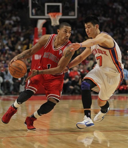 Derrick Rose, last season's NBA Most Valuable Player, passes new sensation Jeremy Lin