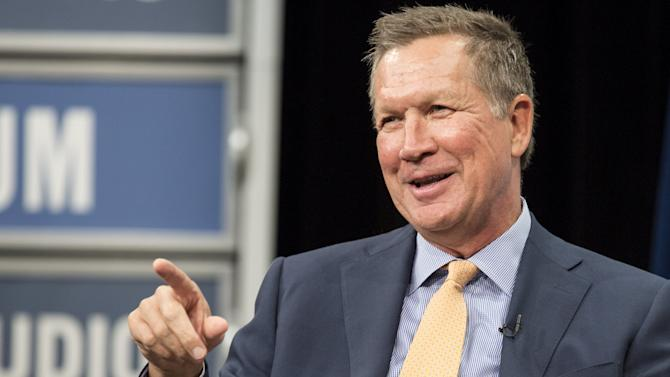 Republican presidential candidate Gov. John Kasich makes a point during an interview with the United States Hispanic Chamber of Commerce in Washington