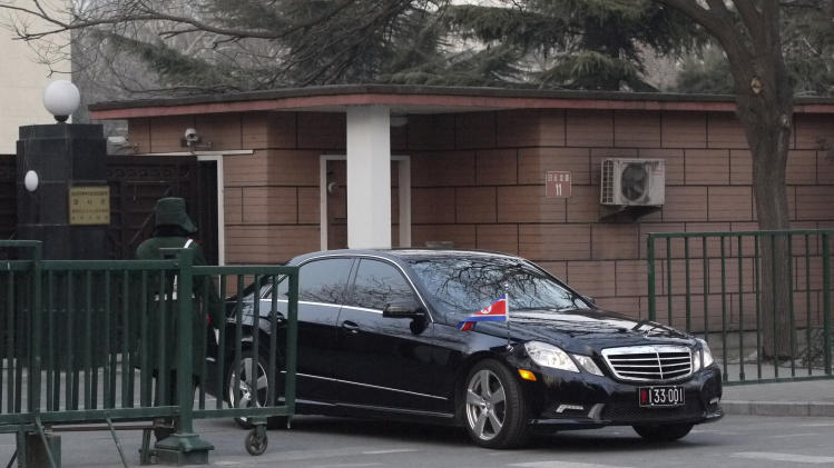 "The car of the North Korean ambassador to China emerges from the North Korean embassy in Beijing, Tuesday Feb. 12, 2013, hours after North Korea conducted its third nuclear test. Chinese Foreign Minister Yang Jiechi summoned North Korea's ambassador and delivered a ""stern representation"" and demanded that North Korea ""swiftly return to the correct channel of dialogue and negotiation,"" following the test Tuesday. (AP Photo)"