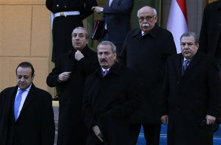 Ministers from Turkey's ruling Ak Party attend a ceremony in Ankara