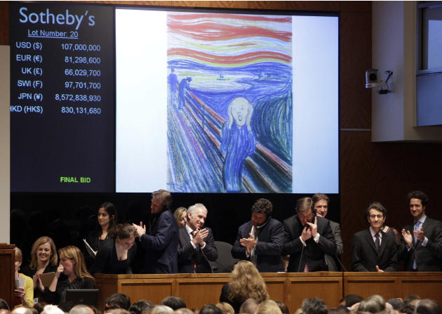 "Edvard Munch's ""The Scream"" is auctioned at Sotheby's  Wednesday, May 2, 2012, in New York. The image is one of four versions created by the Norwegian expressionist painter. Three are in Norwegian mus"