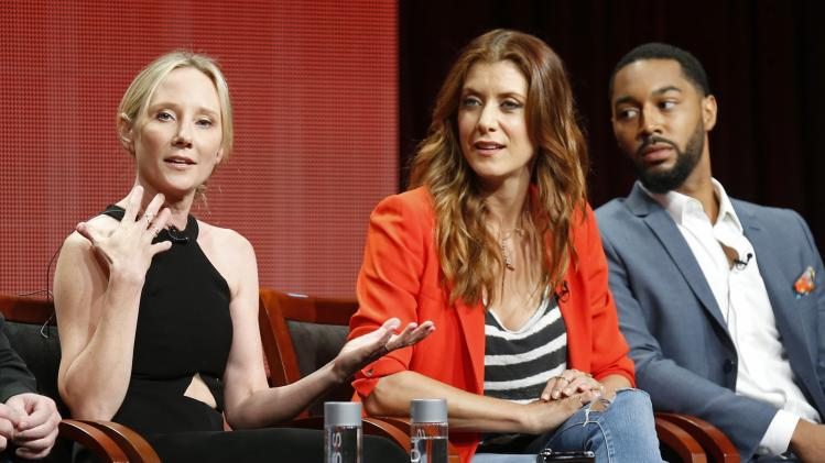 "Anne Heche, Kate Walsh and Tone Bell participate in a panel for the television show ""Bad Judge"" at the TCA NBCUniversal Summer Press Tour in Beverly Hills"