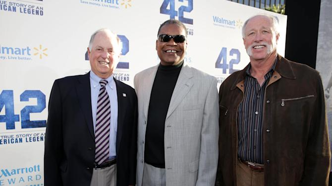 Pat Gillick, Dave Henderson and Goose Gossage at The Los Angeles Premiere of Warner Bros. Pictures' and Legendary Pictures' 42, on Tuesday, April, 9th, 2013 in Los Angeles. (Photo by Eric Charbonneau/Invision for Warner Bros./AP Images)