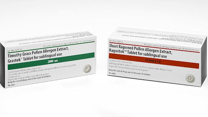 This product image provided by Merck shows the packaging for newly FDA-approved allergy medications Grastek, left, and Ragwitek. Grastek is used in the treatment of diagnosed Timothy grass pollen induced allergic rhinitis, with or without conjunctivitis, in adults and children 5 years of age and older. Ragwitek is indicated as immunotherapy for diagnosed ragweed pollen induced allergic rhinitis, with or without conjunctivitis, in adults 18 years of age and older. (AP Photo/Merck)