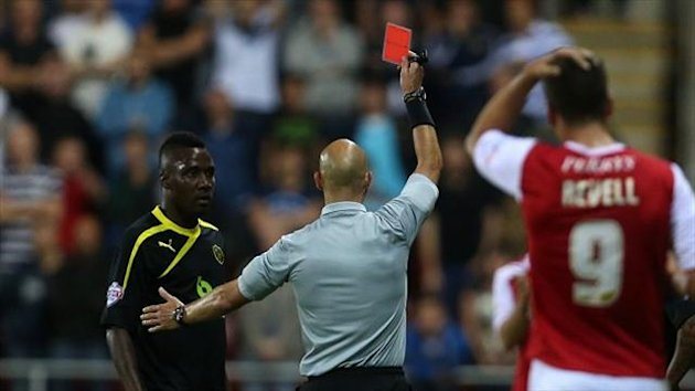 Jermaine Johnson is sent off in the derby clash at Rotherham