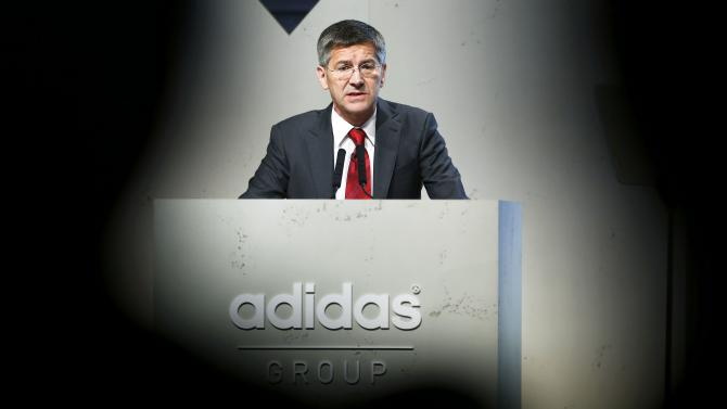 Hainer, CEO of Adidas, the world's second largest sports apparel firm, holds speech during company annual general meeting in Fuerth