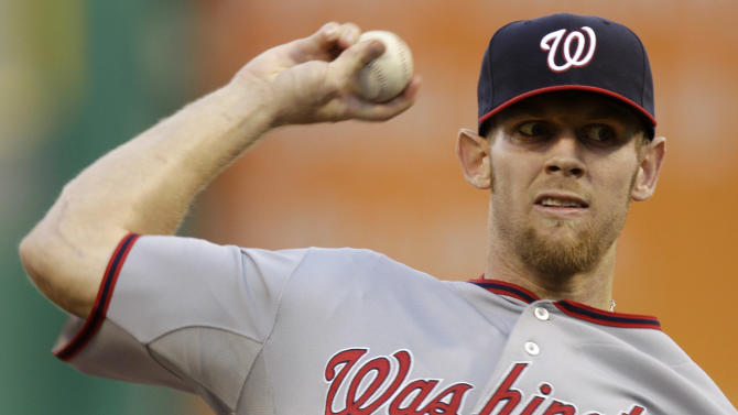 Washington Nationals pitcher Stephen Strasburg throws during the first inning of a baseball game against the Pittsburgh Pirates in Pittsburgh, Thursday, May 10, 2012. (AP Photo/Gene J. Puskar)