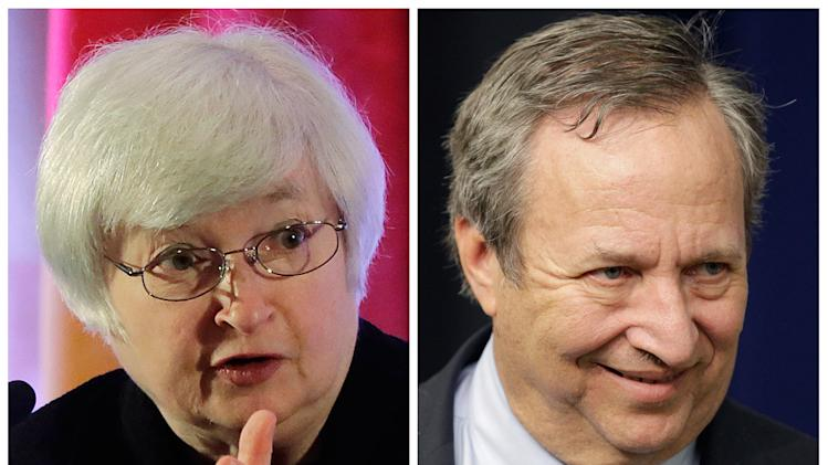 This photo combo shows Fed Vice Chair Janet Yellen, left, and former Treasury Secretary Lawrence Summers. Summers is the White House insider with a direct line to President Barack Obama. Yellen is the Federal Reserve veteran with a long list of congressional patrons. The two Ivy League trained economists have emerged as leading contenders to replace Ben Bernanke as chairman of the Fed, the nation's central bank. Obama could announce his nominee in the coming weeks. (AP Photo/Eugene Hoshiko, J. Scott Applewhite)