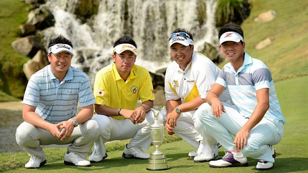 Daisuke Maruyama of Japan, Hideki Matsuyama of Japan, Kiradech Aphinbanrat of Thailand and Wu Ashun of China pictured with the Claret Jug during round two of The Open Championship International Final Qualifying Asia (AFP)