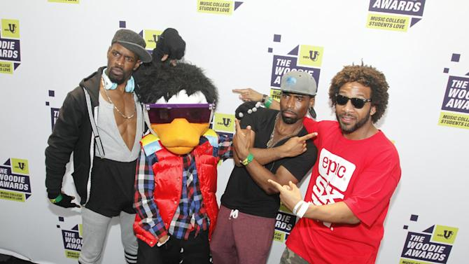 Watch The Duck pose backstage at the mtvU Woodie Awards on Thursday, March 14, 2013. (Photo by Jack Plunkett/Invision for MTV/AP Images)