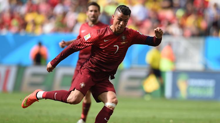 Portugal's forward and captain Cristiano Ronaldo plays against Ghana at the Mane Garrincha stadium in Brasilia during the 2014 FIFA World Cup on June 26, 2014