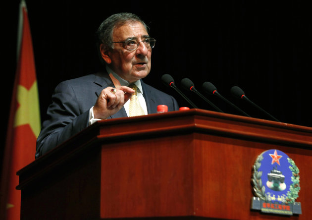 U.S. Secretary of Defense Leon Panetta addresses cadets at the Engineering Academy of PLA Armored Forces, in Beijing, Wednesday, Sept. 19, 2012. (AP Photo/Larry Downing, Pool)