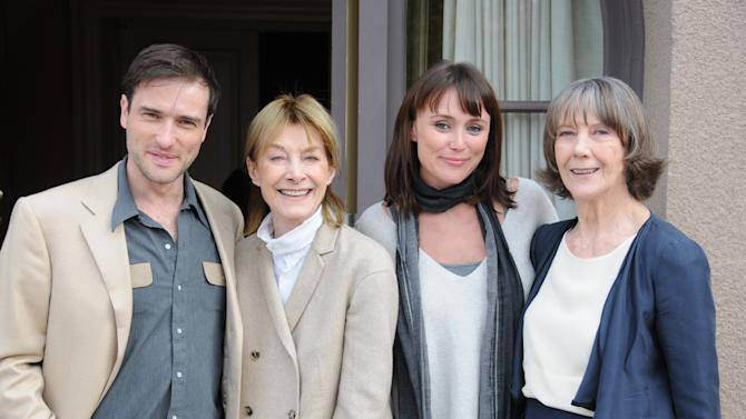 In this publicity image released by PBS, from left, Ed Stoppard, Jean Marsh, Keeley Hawes and Eileen Atkins from