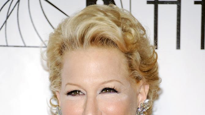 "FILE - This June 14, 2012 file photo shows actress and singer Bette Midler at the 2012 Songwriters Hall of Fame induction and awards gala in New York. Midler will star in John Logan's new play ""I'll Eat You Last: A Chat With Sue Mengers"" in the spring, marking the first time the Grammy, Tony and Golden Globe winner has been on Broadway in 30 years. The show opens April 24, 2013 at a Shubert theatre to be announced later.  (Photo by Evan Agostini/Invision, file)"