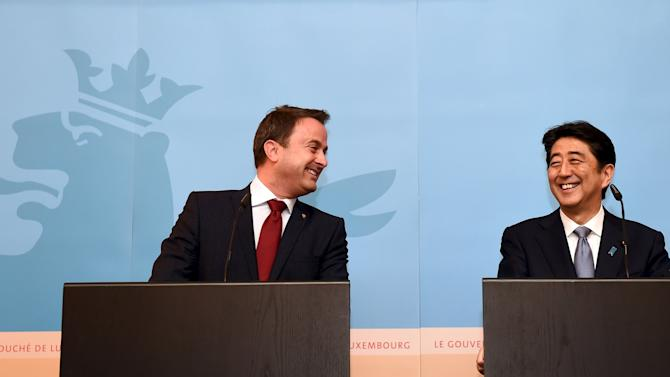 Japanese PM Abe holds a news conference with Luxembourg's PM Bettel at the start of his official visit in Luxembourg