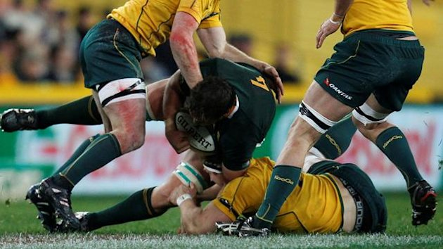 Flip van der Merwe of South Africa during a match against Australia