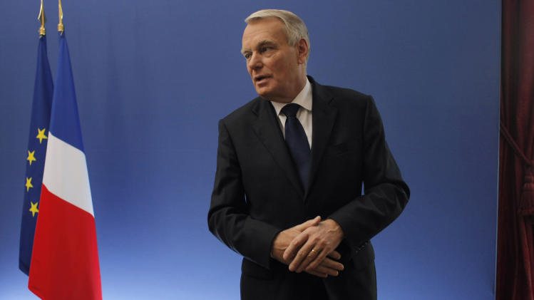 France's Prime Minister Jean Marc Ayrault is seen at the end of a press conference he gave after a meeting on the competitiveness, at Matignon, in Paris, Tuesday Nov. 6, 2012. Economists agree the situation in France is urgent. The world's No. 5 economy has been fading for years — its share of global GDP has halved since 1990 to 2 percent — and the debt crisis and the global recession have exacerbated the problem. (AP Photo/Thibault Camus)