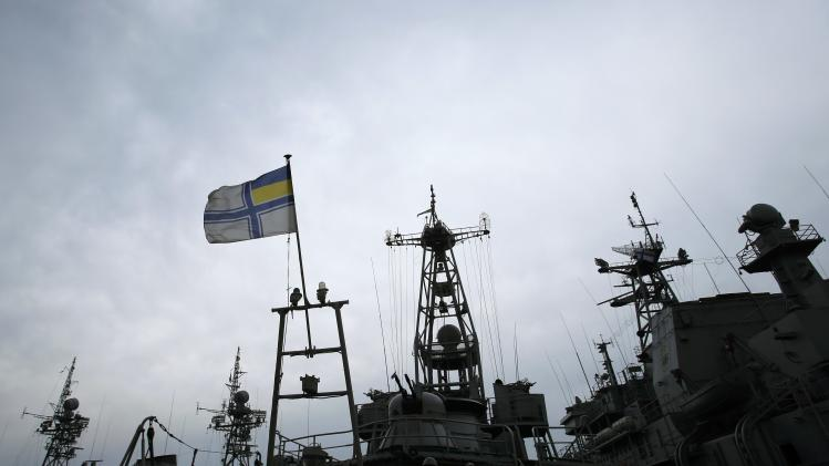 Ukrainian navy ships are docked at the Crimean port of Yevpatorya