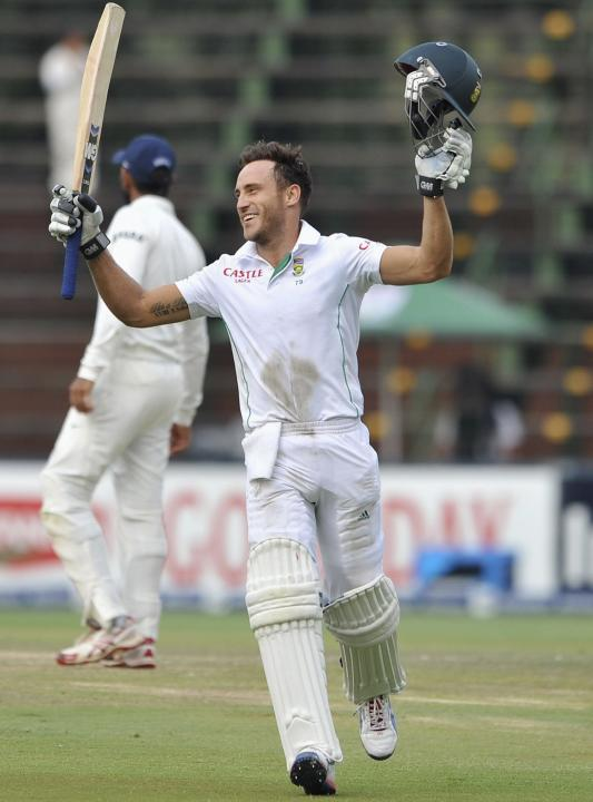 South Africa's Faf du Plessis celebrates his century during the final day of their cricket test match against India in Johannesburg