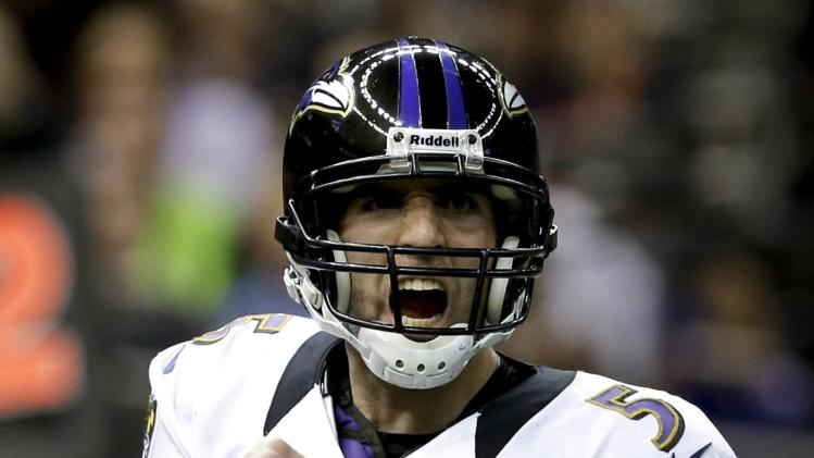 Baltimore Ravens quarterback Joe Flacco celebrates their touchdown against the San Francisco 49ers during the first half of the NFL Super Bowl XLVII football game, Sunday, Feb. 3, 2013, in New Orleans. (AP Photo/Patrick Semansky)