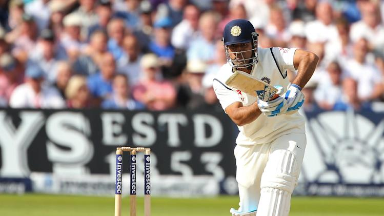 India's Mahendra Singh Dhoni bats during the first cricket Test match between England and India in Nottingham, England on July 9, 2014