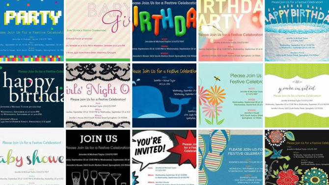 This undated image provided by Evite shows a selection of the website's paper invitations. The website, which pioneered digital invitations 15 years ago, has started to sell paper ones for the first time. Customers can now create invitations online, have them printed by Evite and sent directly to party guests. The cards cost $2 each, plus any postage fees. (AP Photo/Evite)