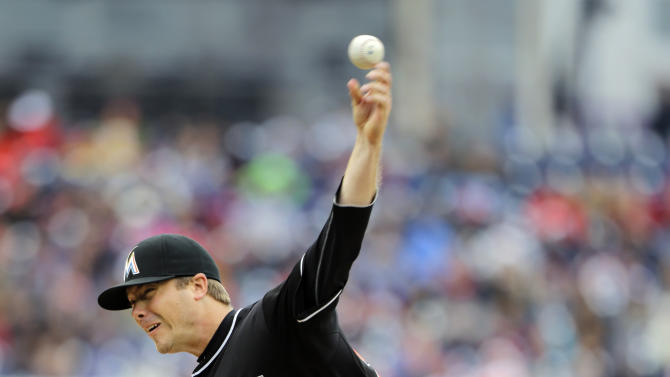 Miami Marlins relief pitcher Wade LeBlanc throws during the first inning of a baseball game against the Washington Nationals at Nationals Park, Thursday, April 4, 2013, in Washington. (AP Photo/Alex Brandon)