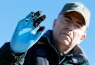 Louisiana Department of Wildlife and Fisheries Secretary Robert Barham holds up an oiled glove last January after finding deposits of oiled marsh land near Bay Jimmy. British oil giant BP was temporarily banned by the US Environmental Protection Agency from US government contracts Wednesday due to its behavior in the April 2010 Gulf of Mexico oil disaster