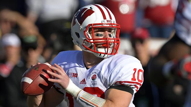 Wisconsin quarterback Curt Phillips looks to pass during the first half of the Rose Bowl NCAA college football game against Stanford, Tuesday, Jan. 1, 2013, in Pasadena, Calif. (AP Photo/Mark J. Terrill)