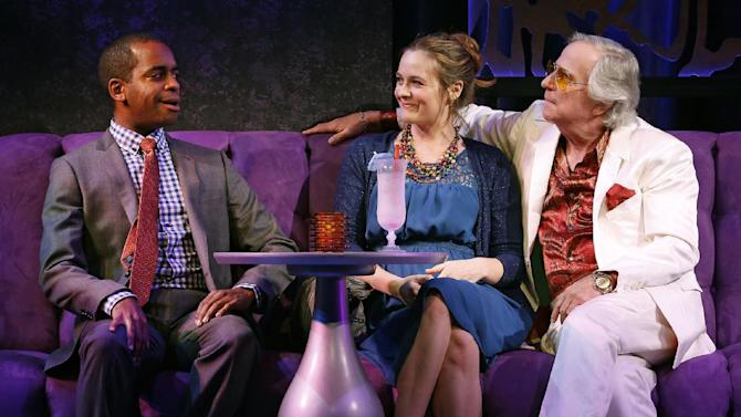 "This theater image released by Sam Rudy Media Relations shows Daniel Breaker, from left, Alicia Silverstone and Henry Winkler during a performance of ""The Performers,"" in New York. (AP Photo/Sam Rudy Media Relations, Carol Rosegg)"