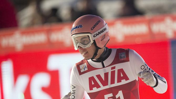 Stefan Kraft of Austria reacts after placing second in the FIS Ski Jumping World Cup Flying Hill competition in Vikersund, Norway