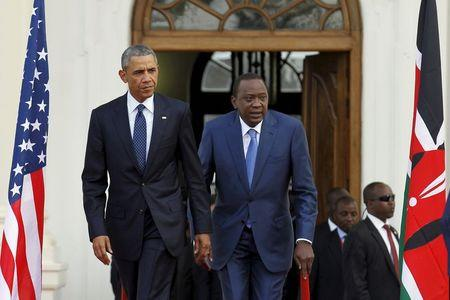 U.S. President Barack Obama arrives together with Kenya's President Uhuru Kenyatta to hold a joint news conference after their meeting at the...