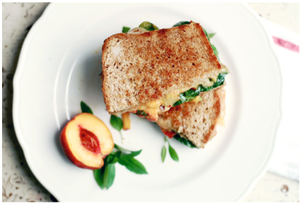 Grilled Cheese with Peach Bruschetta