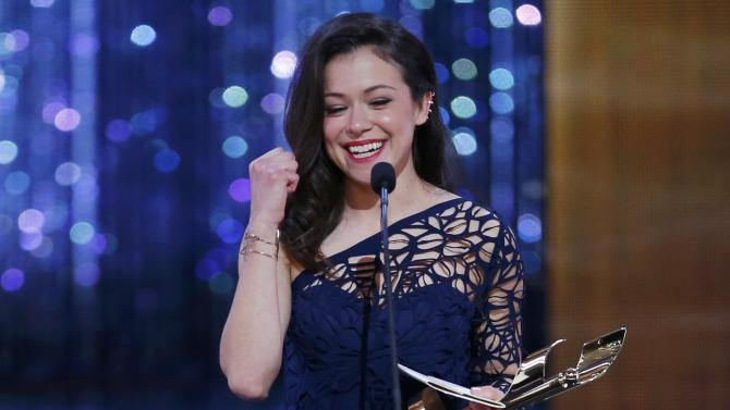 "Tatiana Maslany accepts the award for best actress in a TV drama for her role in ""Orphan Black"" at the 2015 Canadian Screen Awards in Toronto"