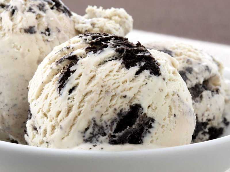 Cookies and cream ice cream in a bowl