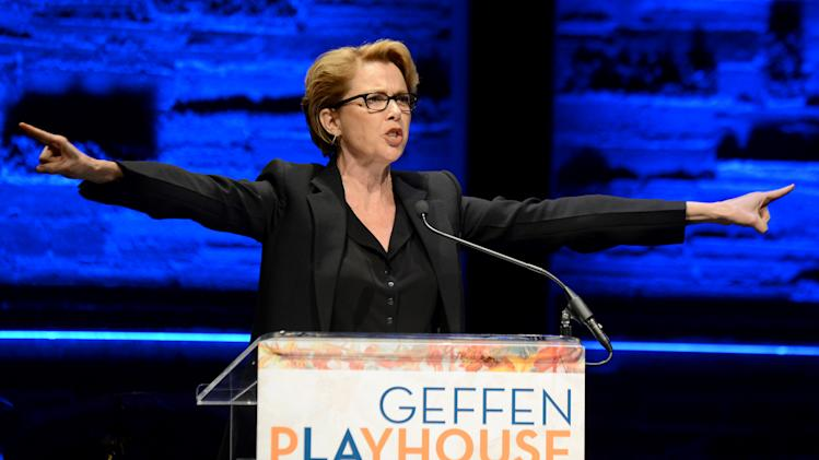 EXCLUSIVE CONTENT - Annette Bening speaks on stage during the Backstage at the Geffen gala at the Geffen Playhouse on Monday, May 13, 2013, in Los Angeles. (Photo by Jordan Strauss/Invision for Geffen/AP Images)
