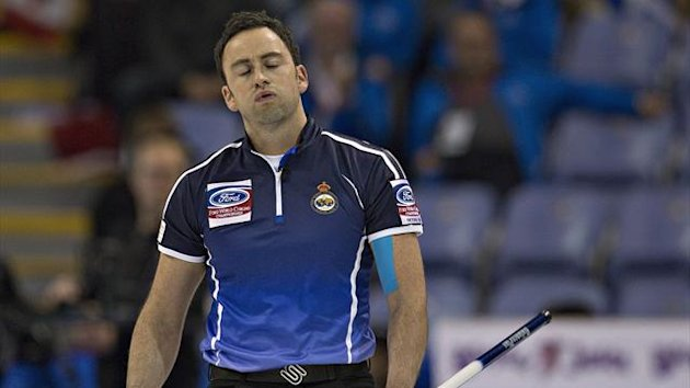 Scotland skip David Murdoch reacts to his shot during their game against Canada at the World Men's Curling Championships in Victoria, British Columbia March 31, 2013. (Reuters)