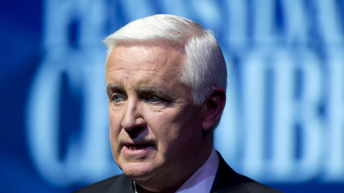 Republican Gov. Tom Corbett speaks during a gubernatorial debate with Democrat Tom Wolf on Monday, Sept. 22, 2014, in Hershey, Pa. The debate is hosted by the Pennsylvania Chamber of Business and Industry. (AP Photo/Matt Rourke)