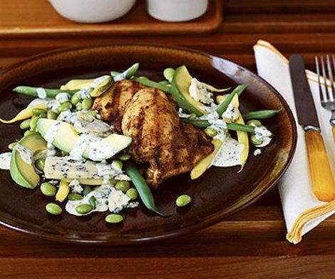 Spiced Chicken Thighs with Bean Salad and Blue Cheese