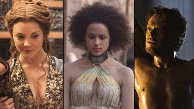Natalie Dormer as Margaery Tyrell, Nathalie Emmanuel as Missandei and Alfie Allen as Theon Greyjoy in 'Game of Thrones' -- HBO