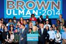Former U.S. Secretary of State Hillary Clinton makes remarks at a campaign rally for Lieutenant Governor Anthony Brown and Ken Ulman in Maryland