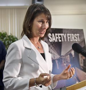 National Transportation Safety Board Chairman Deborah Hersman speaks during a news conference in Hyattsville, Md., July 16, 2012 about the elements of the first-ever federal safety standards for rail transit systems.   (AP Photo/Manuel Balce Ceneta)
